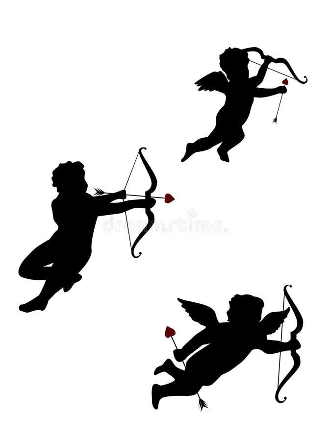 Três Cupids Isolados Imagem de Stock