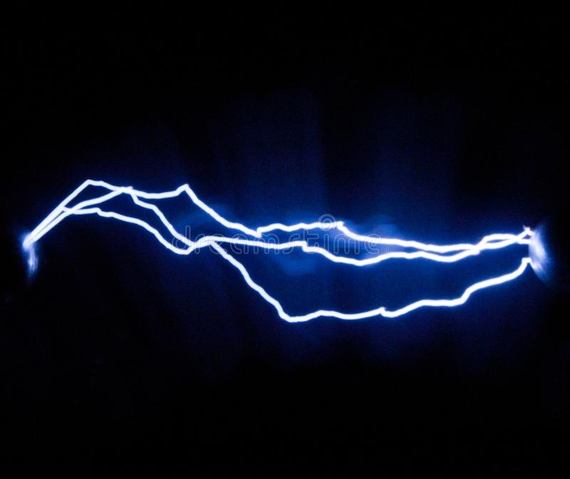 Três das descargas elétricas da faísca obtidas com a ajuda do imagem de stock royalty free