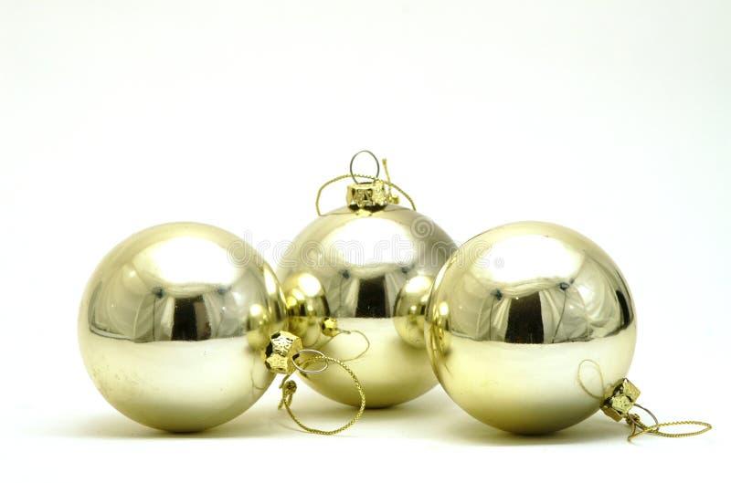 Três decorações de prata do Natal fotos de stock royalty free