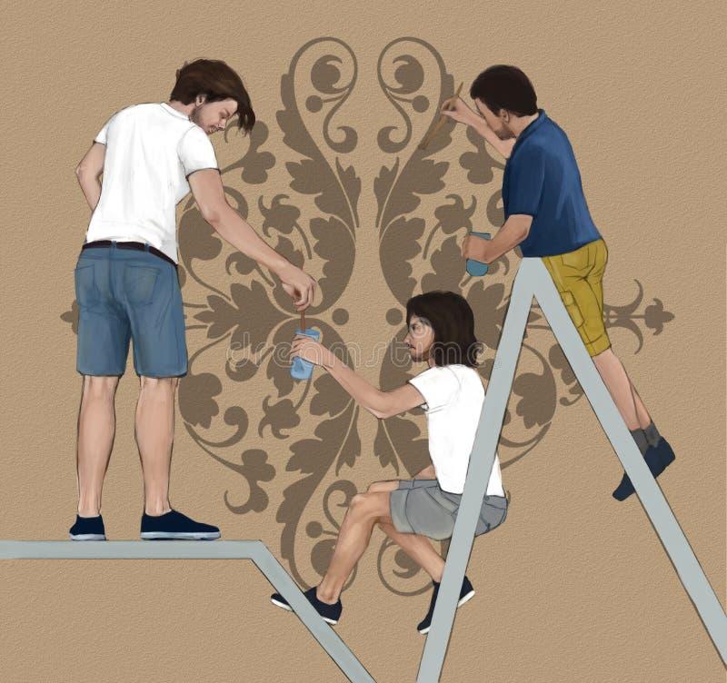 Três decoradores profissionais pintura, decorando uma parede do interno com um elemento floral ilustração royalty free