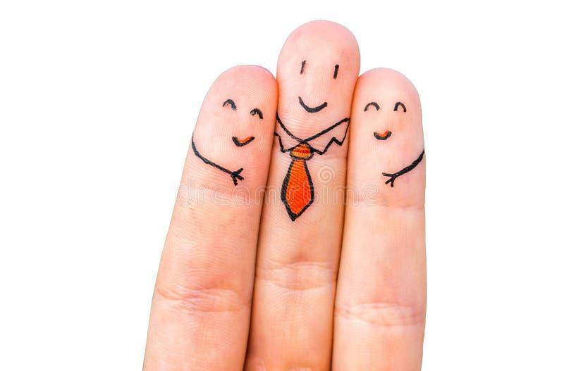 Três dedos felizes foto de stock