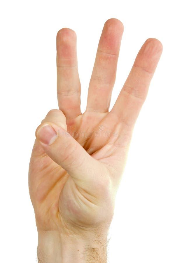 Três dedos isolaram-se fotos de stock