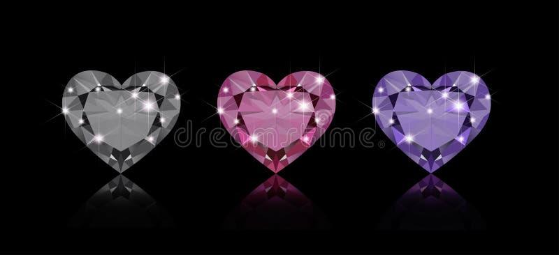 Três diamantes ilustração stock