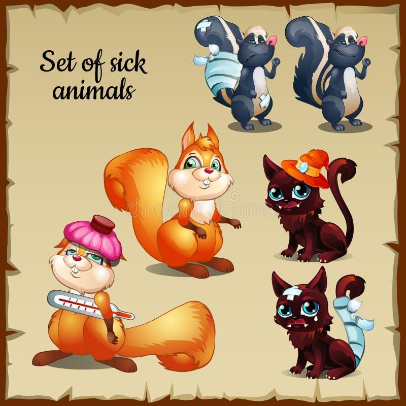 Três doentes e queixas saudáveis dos animais ilustração royalty free