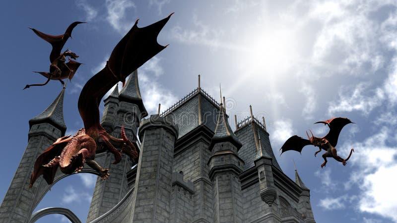 Três dragões vermelhos que atacam o castelo ilustração royalty free