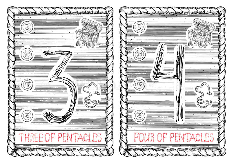 Três e quatro dos pentacles O cartão de tarô ilustração do vetor