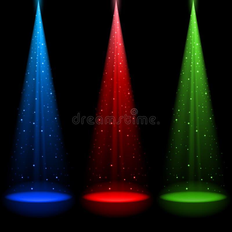 Três eixos do RGB de luz cónicos ilustração royalty free