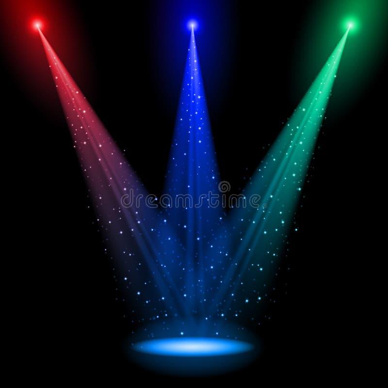 Três eixos do RGB de luz cónicos ilustração do vetor