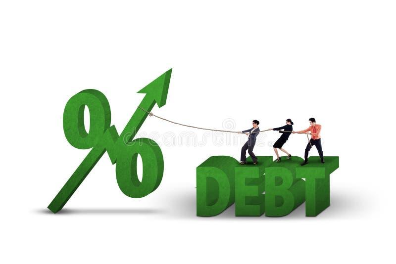 Três empresários e sinais de porcentagem ilustração do vetor
