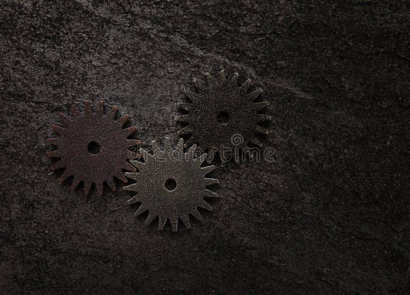 Três engrenagens do metal foto de stock