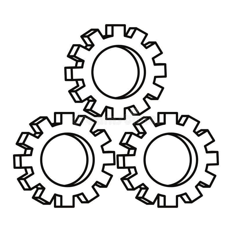 Três engrenagens no fundo branco ilustração do vetor