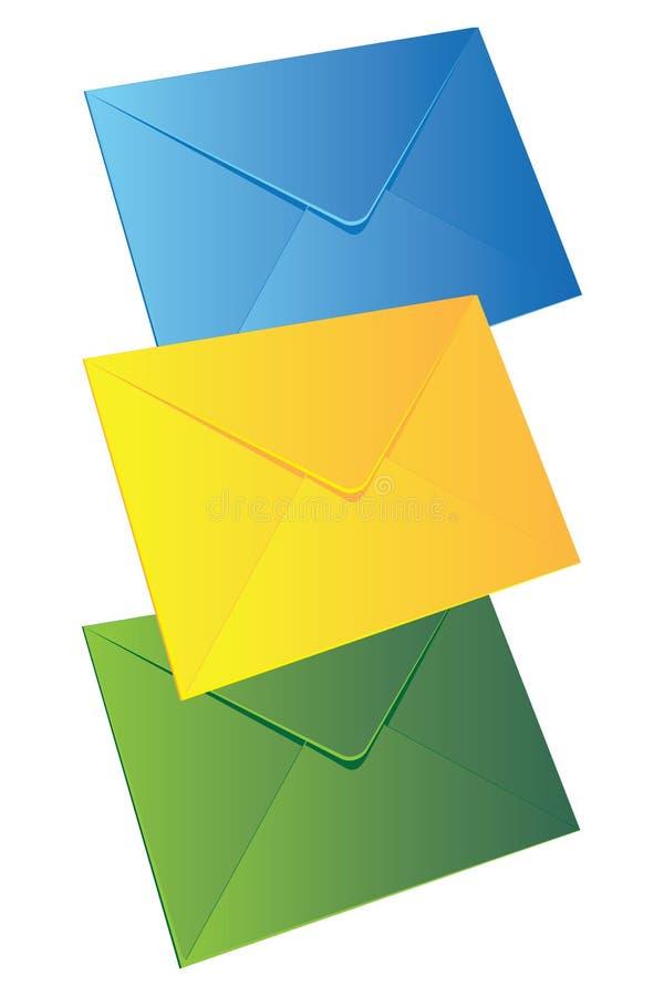 Três envelopes ilustração do vetor
