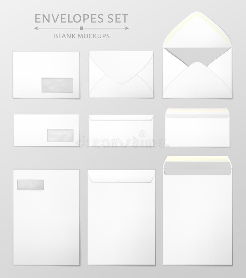 Três envelopes ajustados ilustração do vetor