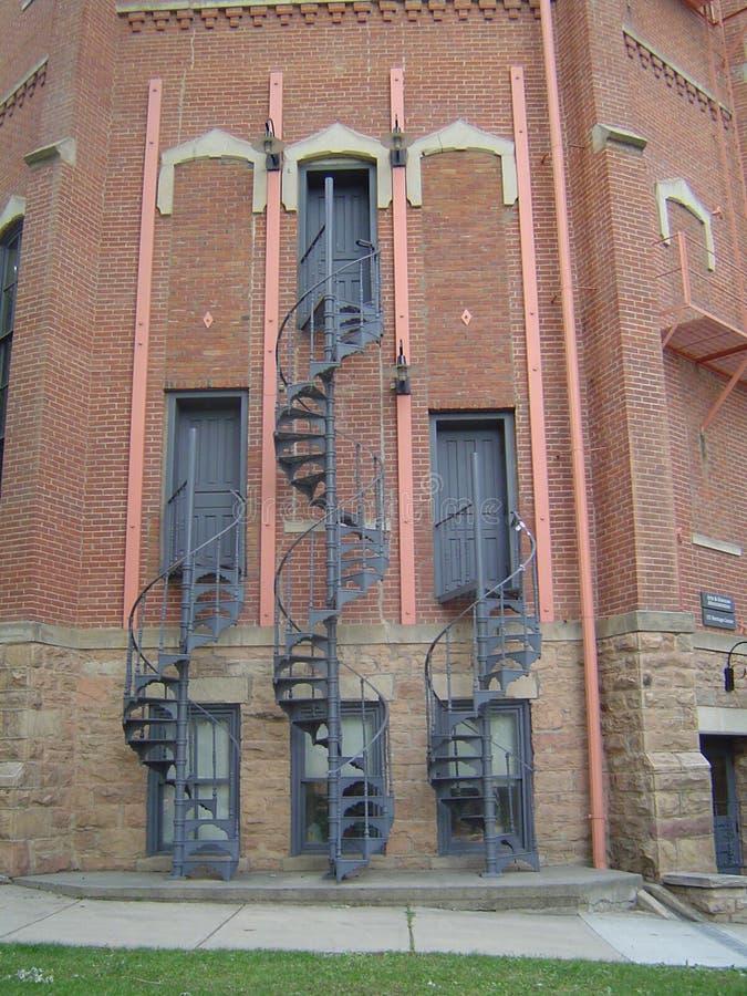 Três escadarias espirais arranjadas simetricamente imagens de stock royalty free