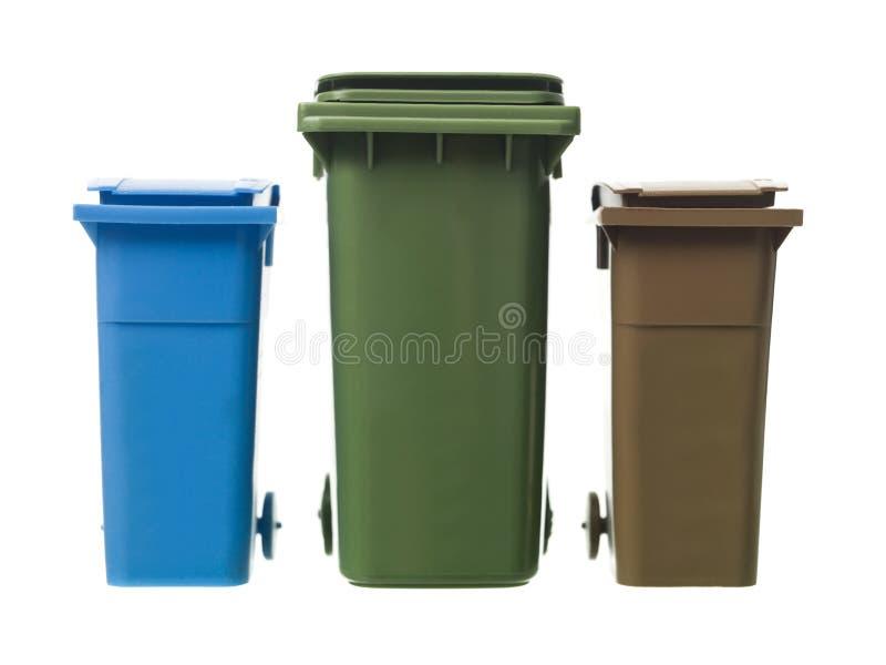 Três escaninhos de recicl fotografia de stock royalty free