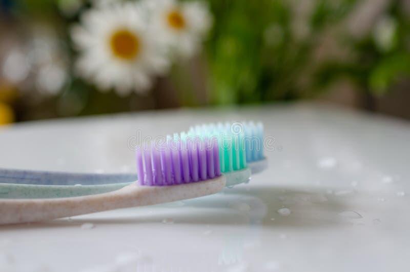 Três escovas de dentes de cores diferentes no fundo branco fotografia de stock royalty free