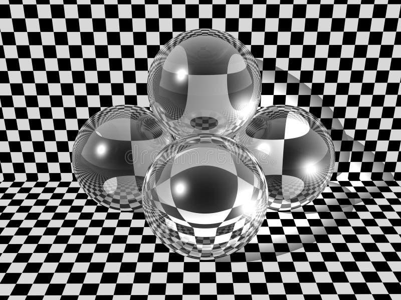 Três esferas de vidro   ilustração stock