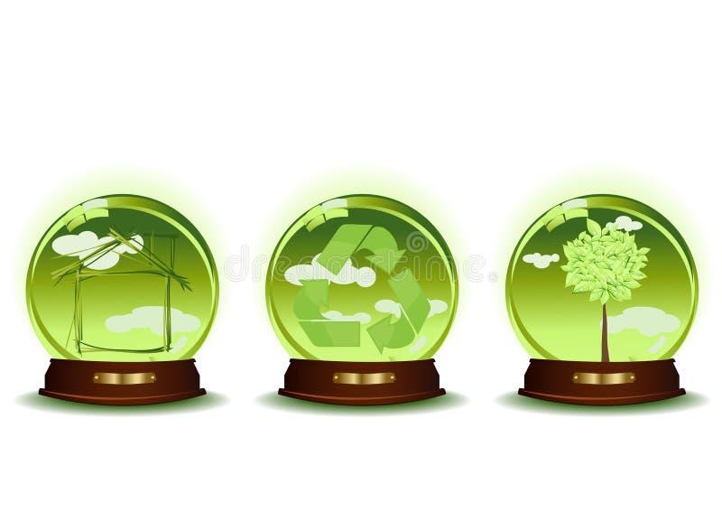 Três esferas verdes ilustração stock