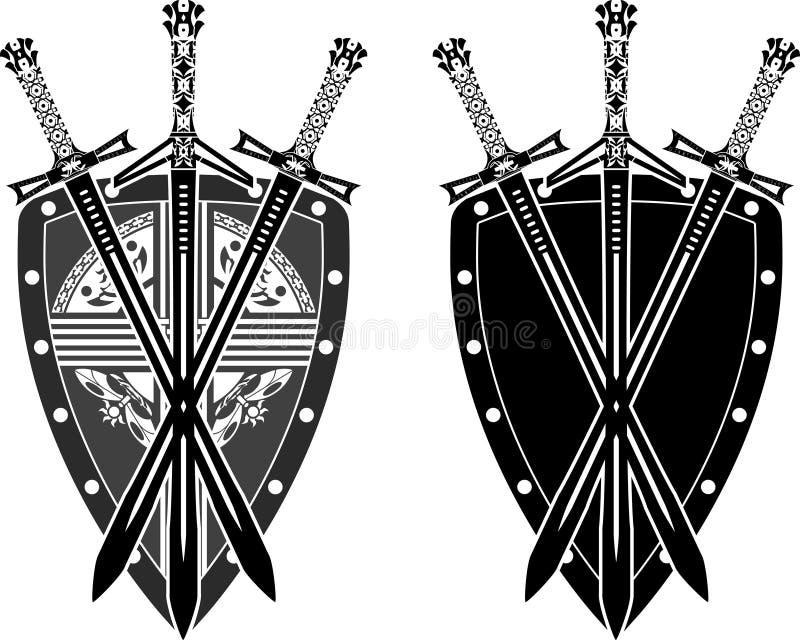 Três espadas e protetores ilustração stock