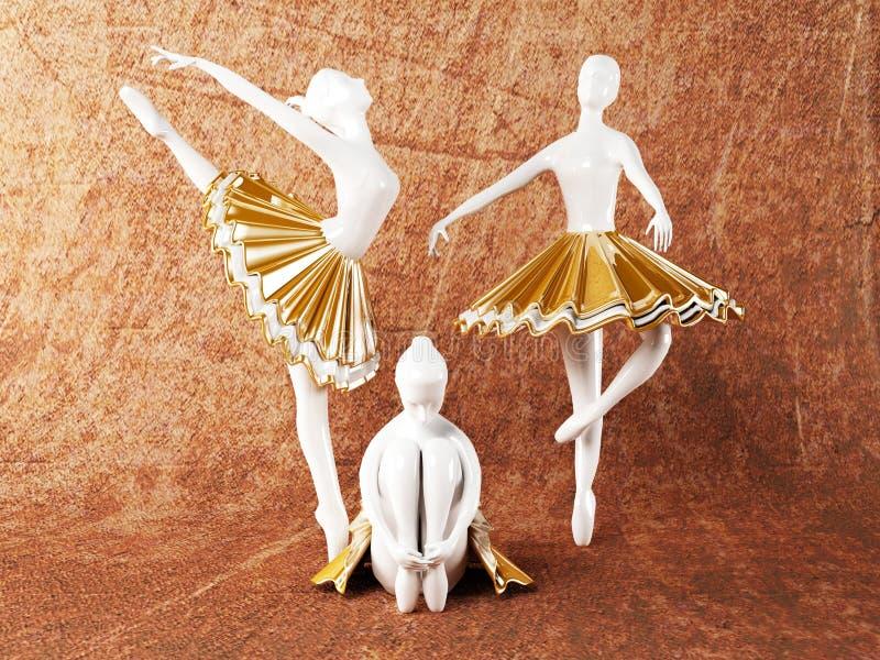 Três estátuas bonitas das bailarinas ilustração royalty free
