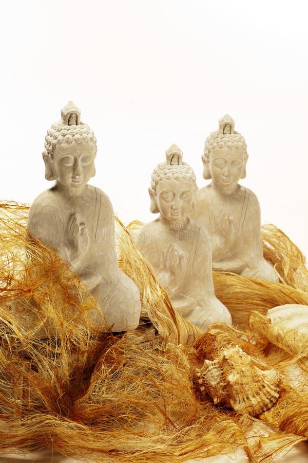 Três estátuas brancas do budha fotografia de stock royalty free
