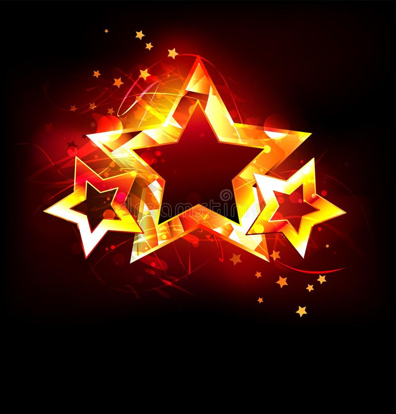 Três estrelas do fogo no fundo preto ilustração stock