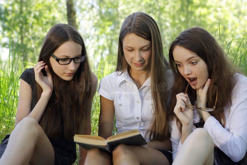 Três estudantes que aprendem junto ao ar livre foto de stock royalty free