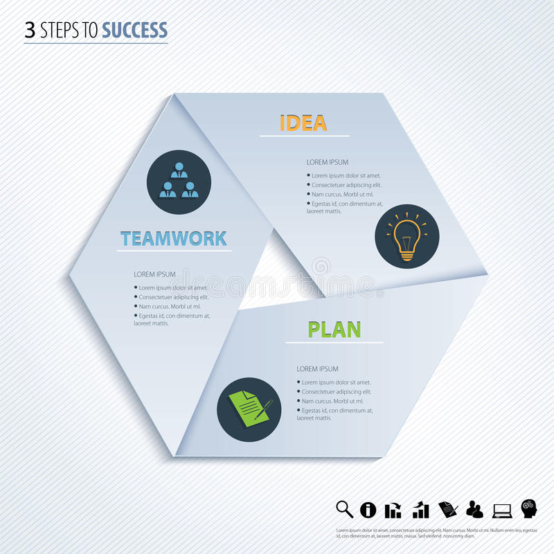 Três etapas ao sucesso Elemento do projeto do vetor ilustração do vetor
