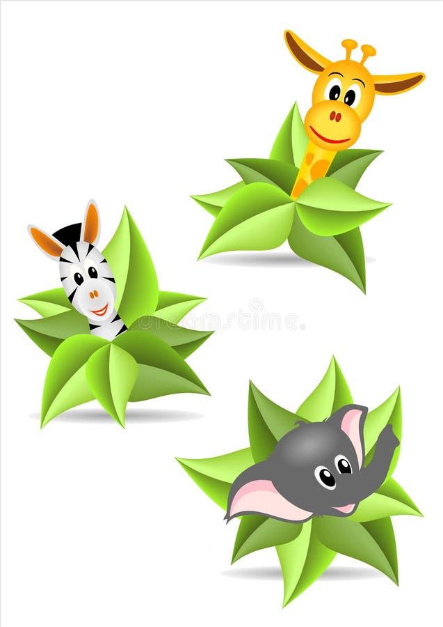 Três etiquetas com animais ilustração do vetor
