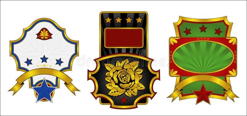 Três etiquetas decoradas com ouro ilustração stock