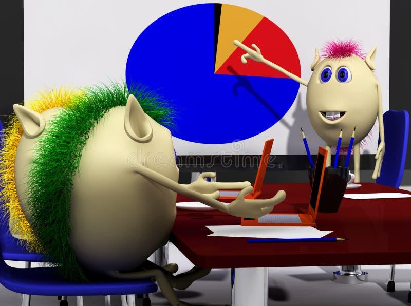 Três fantoches que discutem a carta do overl na tela ilustração stock