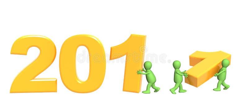 Três fantoches que fazem o número 2011 ilustração royalty free