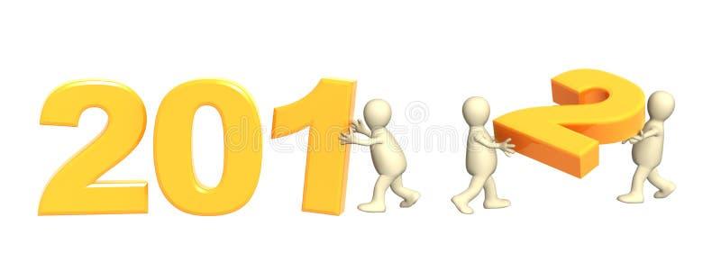 Três fantoches que fazem o número 2012 ilustração royalty free