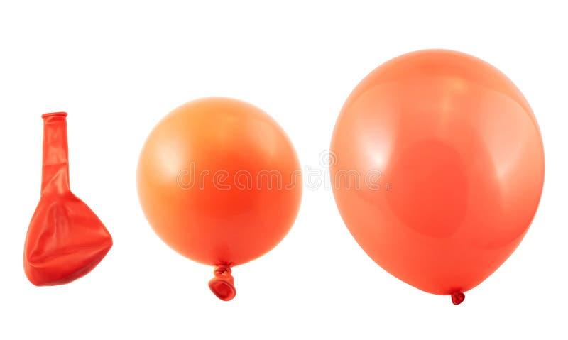 Três fases da inflação do balão isoladas fotografia de stock royalty free