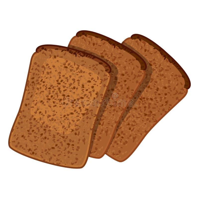 Três fatias de ilustração isolada do pão integral estilo realístico ilustração stock