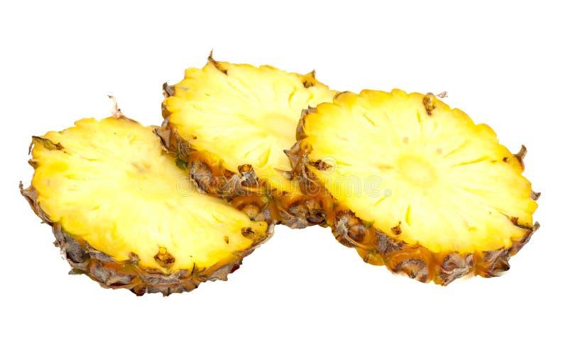 Três fatias do ananás fotografia de stock royalty free