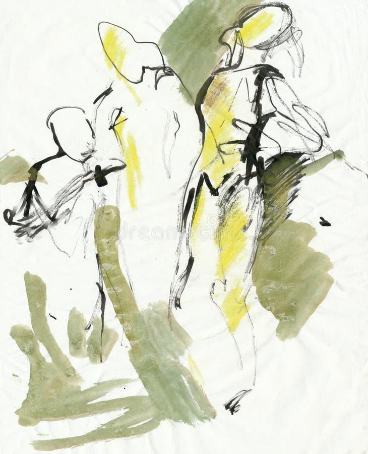 Três figuras, desenhando ilustração stock