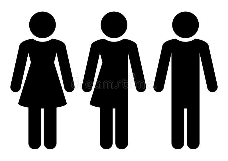 Tr?s figuras pretas homem variado f?mea ilustração royalty free