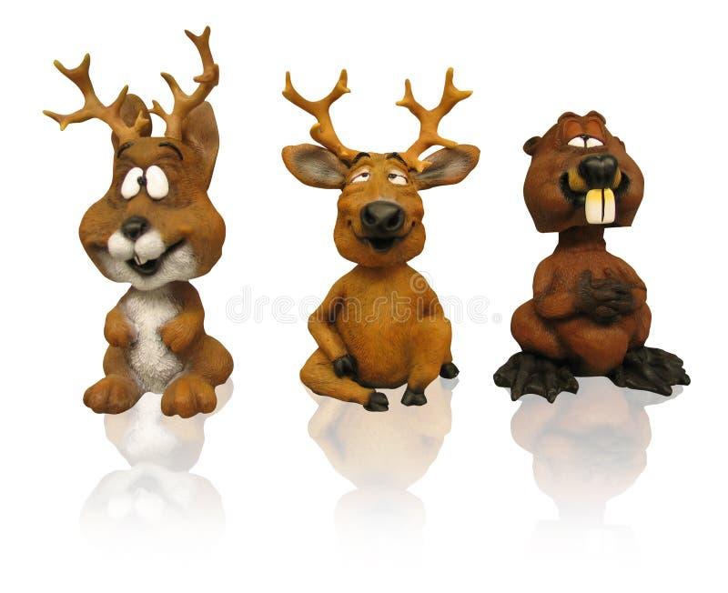 Três figurines animais (trajeto do grampo) ilustração stock