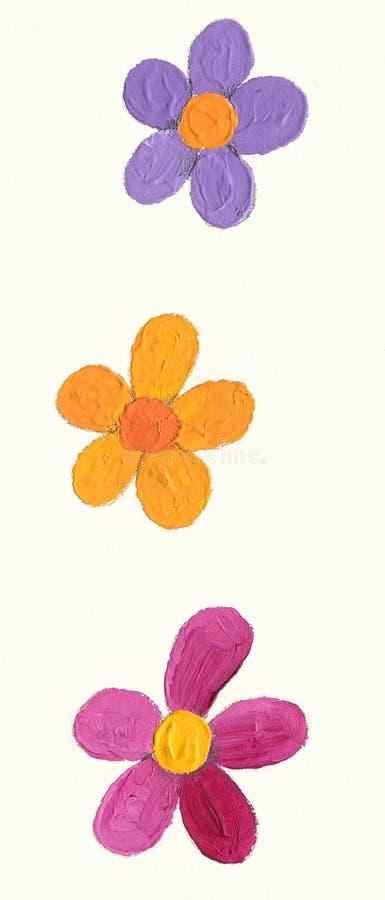 Três flores ilustração royalty free