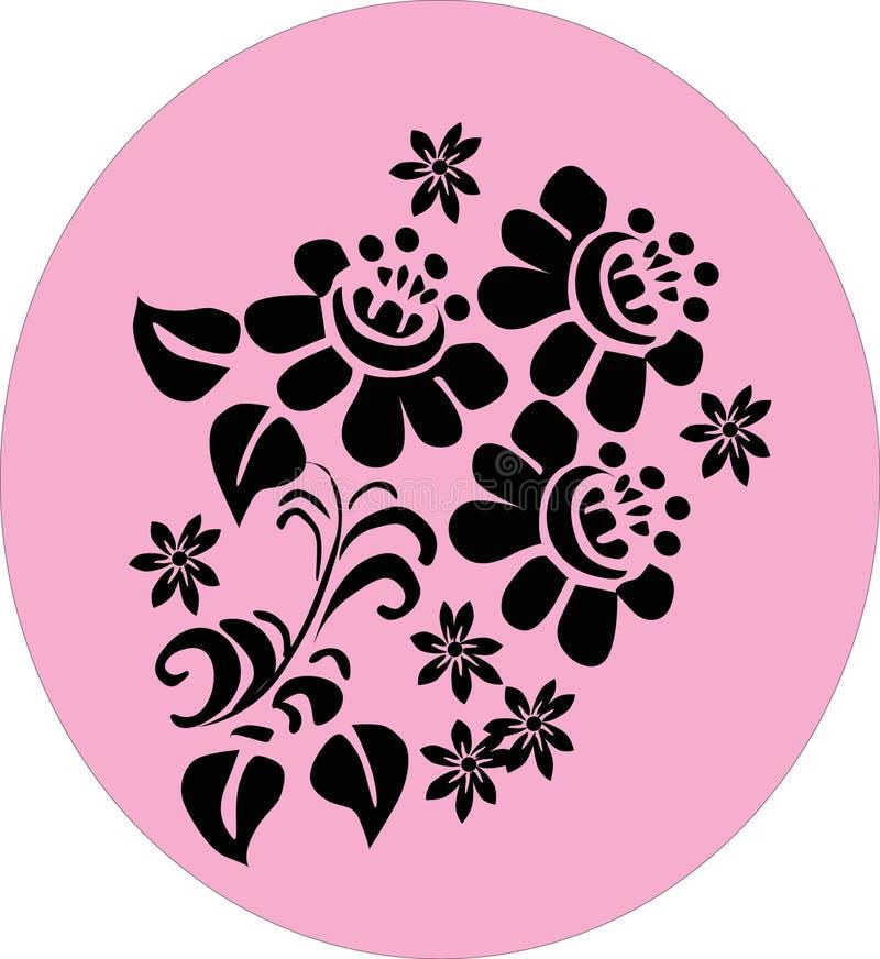 Três flores conventionalized na cor-de-rosa ilustração do vetor