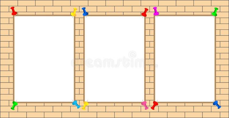 Três folhas brancas com os pinos para a informação, anúncios na parede de tijolo ilustração stock