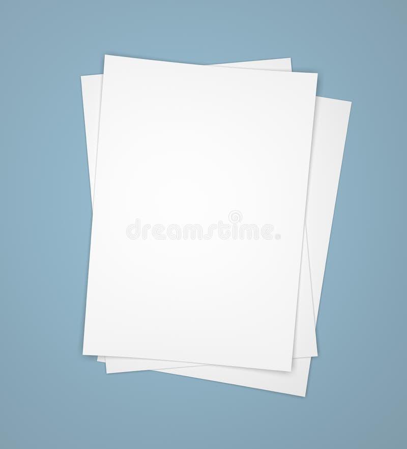 Três folhas do Livro Branco no azul ilustração stock