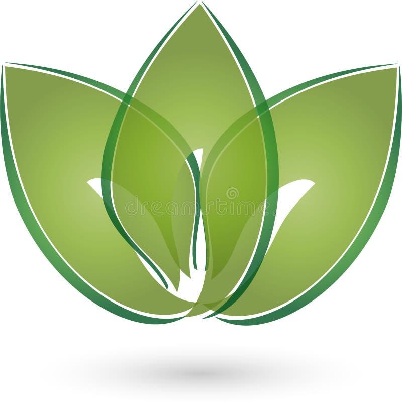 Três folhas no logotipo do verde, do naturopath e da natureza ilustração do vetor