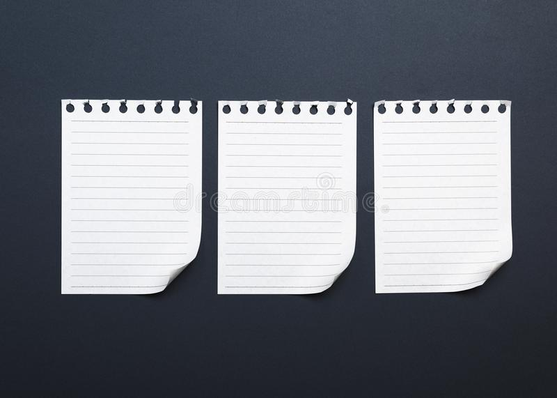 Três folhas vazias do Livro Branco rasgadas de um bloco de notas foto de stock royalty free