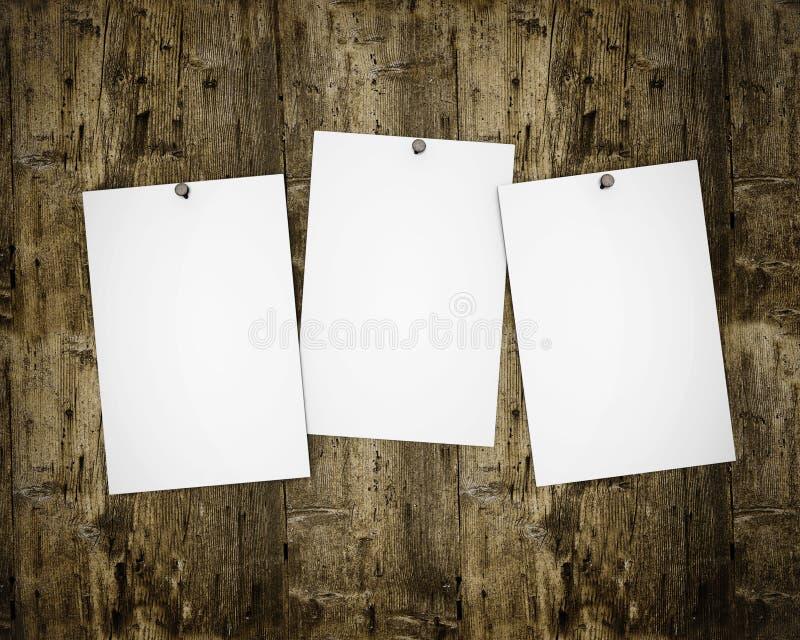 Três fotos na placa de madeira ilustração stock