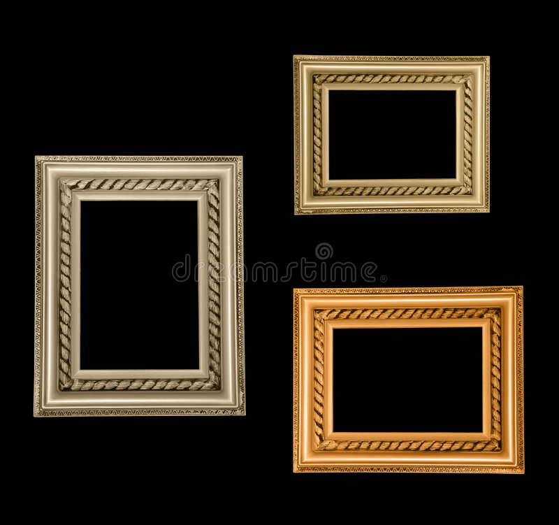 Três frames do ouro foto de stock