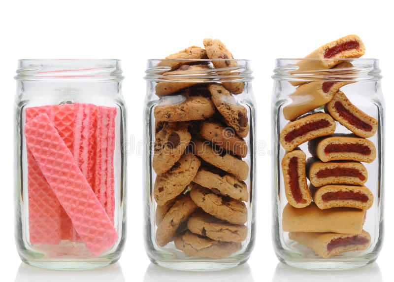 Três frascos de biscoito imagem de stock