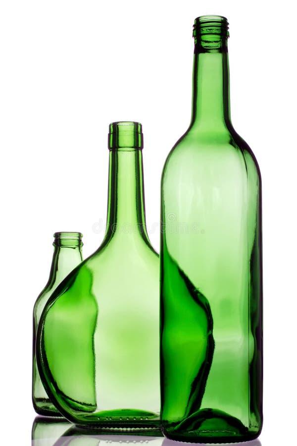 Três frascos verdes imagem de stock