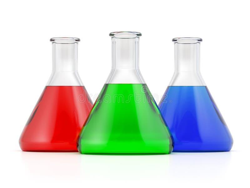 Três garrafas conial do laboratório ilustração royalty free